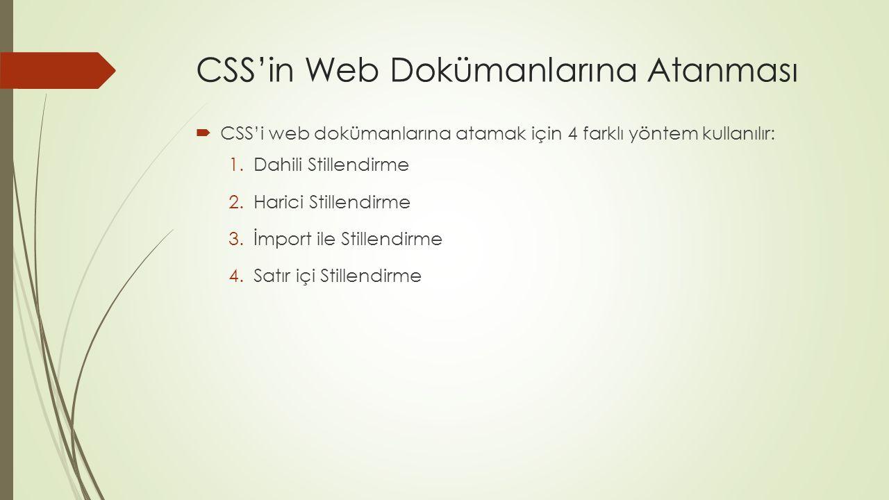 CSS'in Web Dokümanlarına Atanması  CSS'i web dokümanlarına atamak için 4 farklı yöntem kullanılır: 1.Dahili Stillendirme 2.Harici Stillendirme 3.İmpo