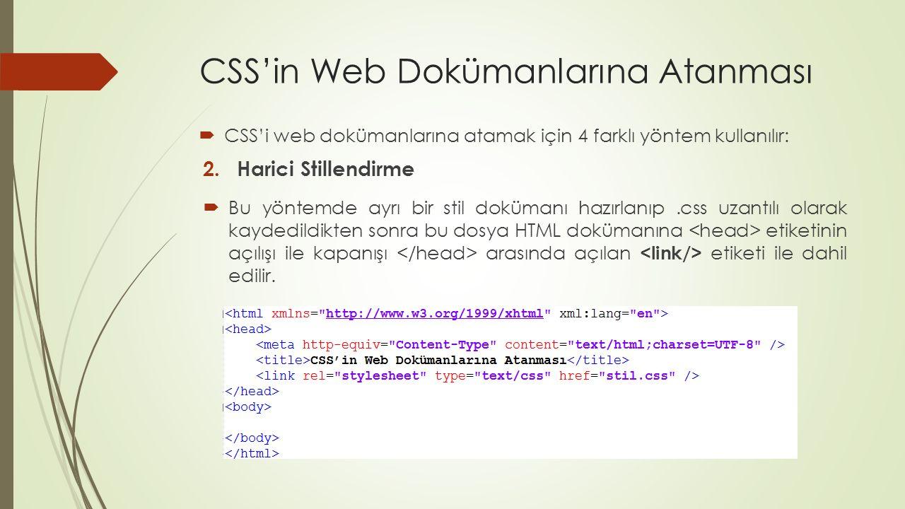 CSS'in Web Dokümanlarına Atanması  CSS'i web dokümanlarına atamak için 4 farklı yöntem kullanılır: 2.Harici Stillendirme  Bu yöntemde ayrı bir stil