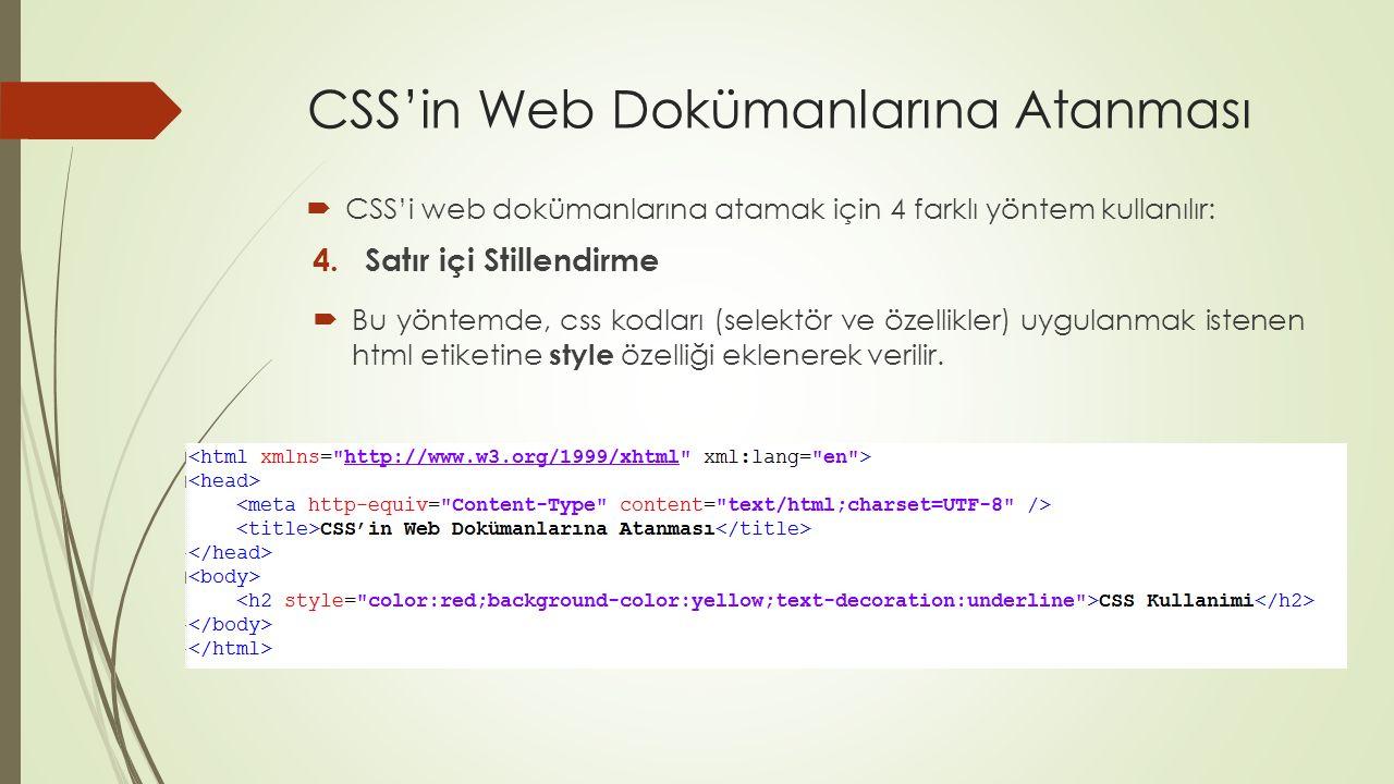 CSS'in Web Dokümanlarına Atanması  CSS'i web dokümanlarına atamak için 4 farklı yöntem kullanılır: 4.Satır içi Stillendirme  Bu yöntemde, css kodlar