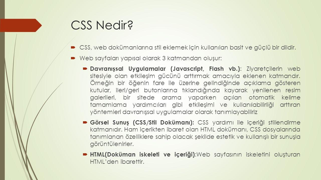 CSS Nedir?  CSS, web dokümanlarına stil eklemek için kullanılan basit ve güçlü bir dildir.  Web sayfaları yapısal olarak 3 katmandan oluşur:  Davra