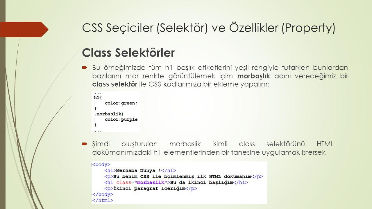 CSS Seçiciler (Selektör) ve Özellikler (Property) Class Selektörler  Bu örneğimizde tüm h1 başlık etiketlerini yeşil rengiyle tutarken bunlardan bazı