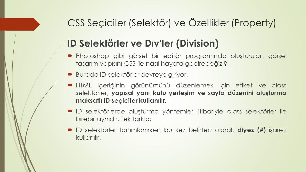 CSS Seçiciler (Selektör) ve Özellikler (Property) ID Selektörler ve Dıv'ler (Division)  Photoshop gibi görsel bir editör programında oluşturulan görs