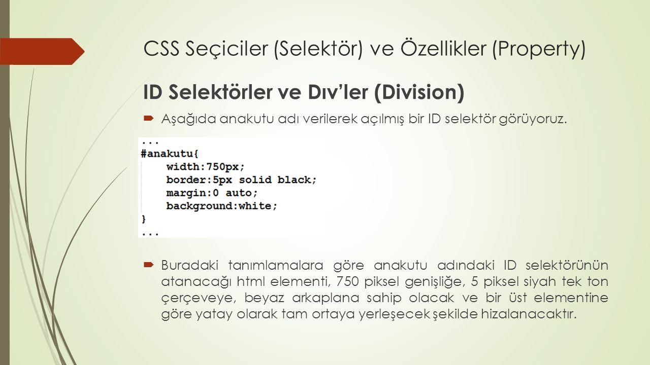 CSS Seçiciler (Selektör) ve Özellikler (Property) ID Selektörler ve Dıv'ler (Division)  Aşağıda anakutu adı verilerek açılmış bir ID selektör görüyor