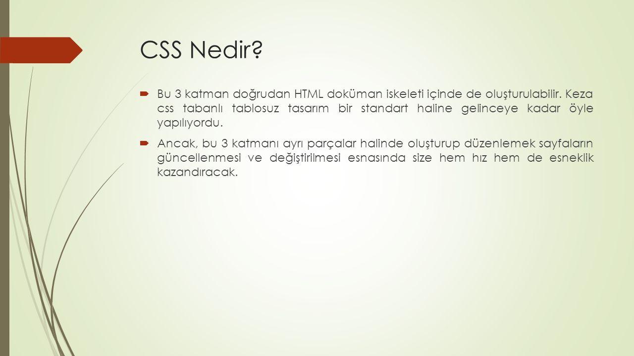 CSS Nedir?  Bu 3 katman doğrudan HTML doküman iskeleti içinde de oluşturulabilir. Keza css tabanlı tablosuz tasarım bir standart haline gelinceye kad