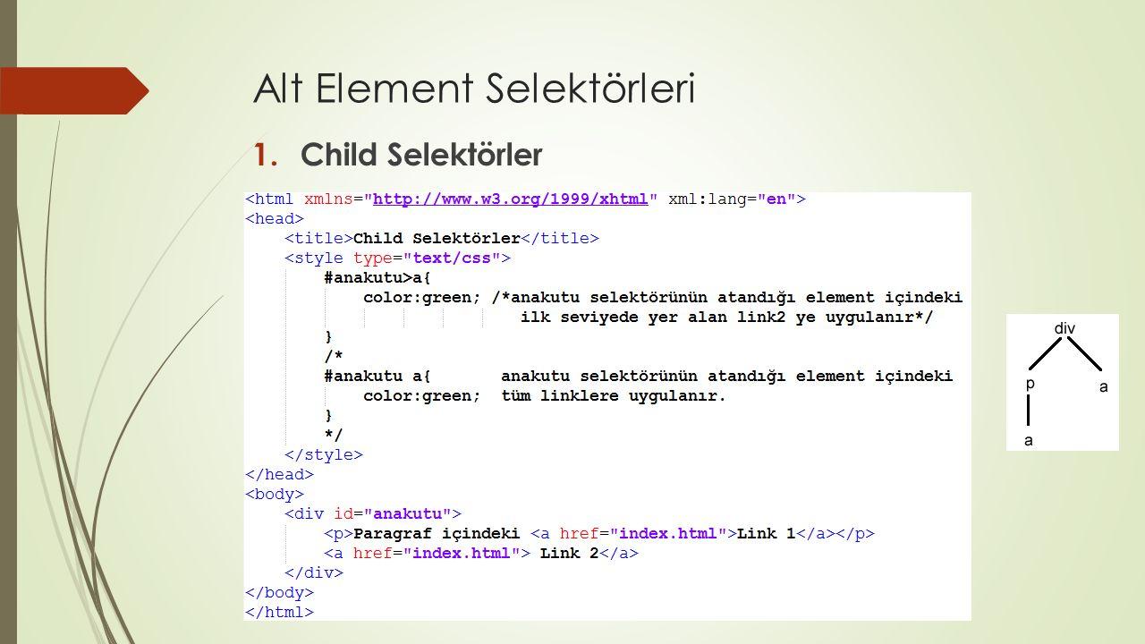 Alt Element Selektörleri 1.Child Selektörler