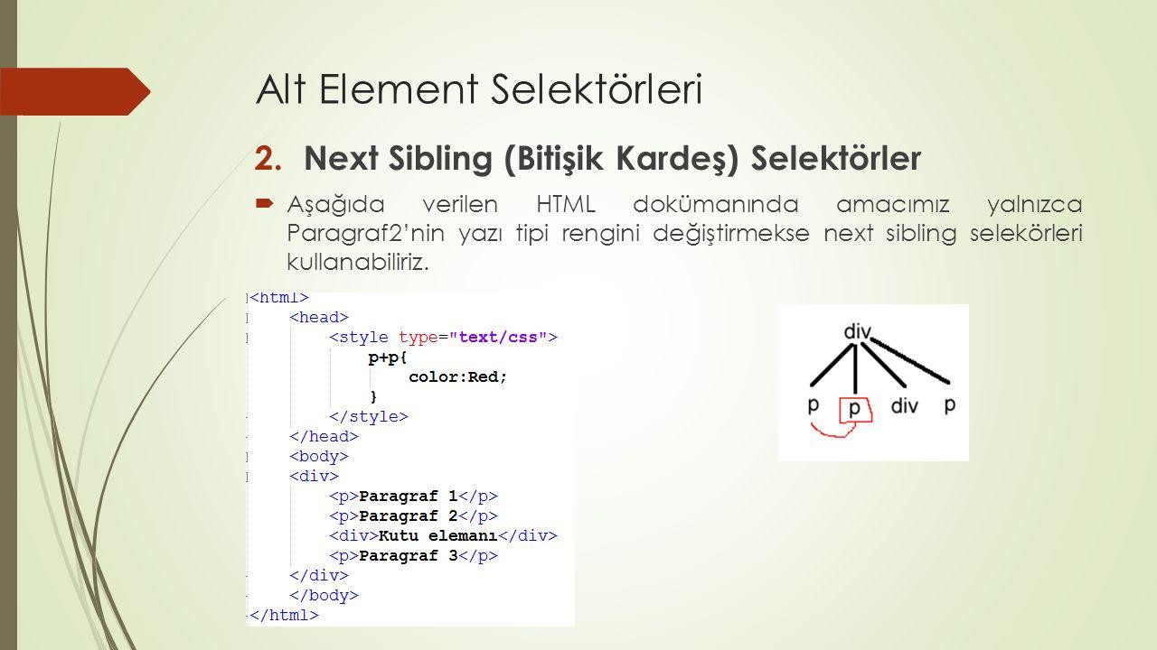 Alt Element Selektörleri 2.Next Sibling (Bitişik Kardeş) Selektörler  Aşağıda verilen HTML dokümanında amacımız yalnızca Paragraf2'nin yazı tipi reng
