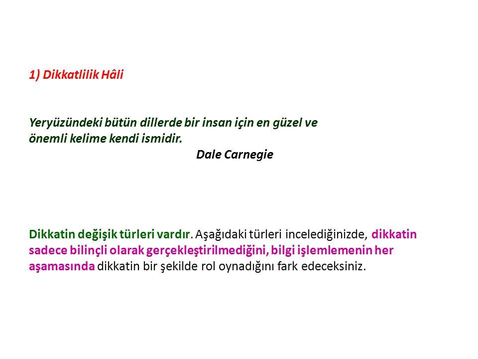 1) Dikkatlilik Hâli Yeryüzündeki bütün dillerde bir insan için en güzel ve önemli kelime kendi ismidir. Dale Carnegie Dikkatin değişik türleri vardır.