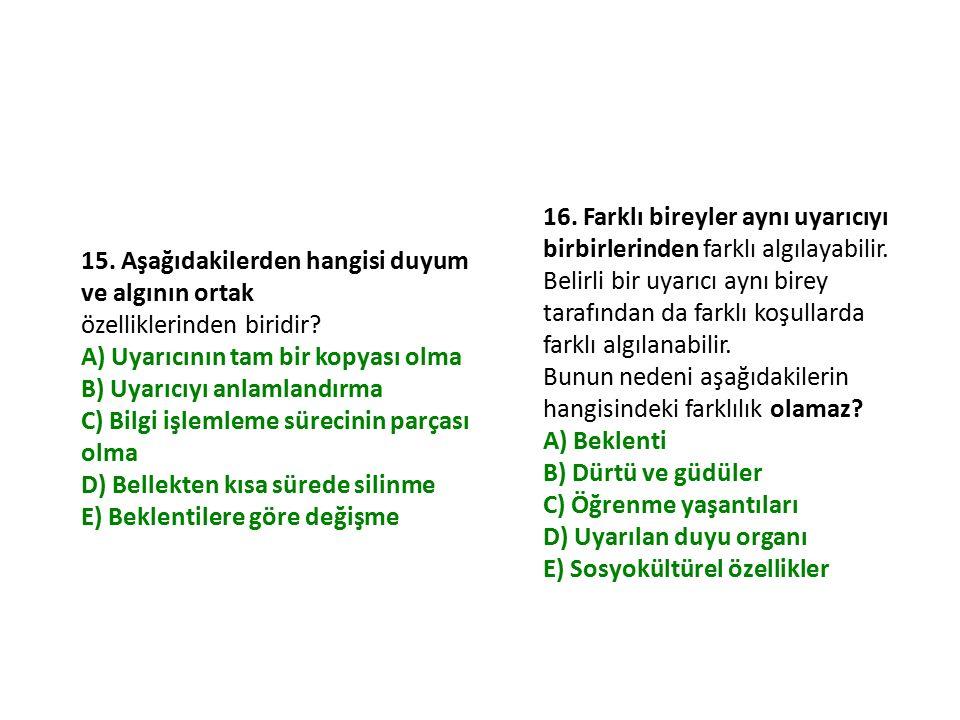 15. Aşağıdakilerden hangisi duyum ve algının ortak özelliklerinden biridir? A) Uyarıcının tam bir kopyası olma B) Uyarıcıyı anlamlandırma C) Bilgi işl