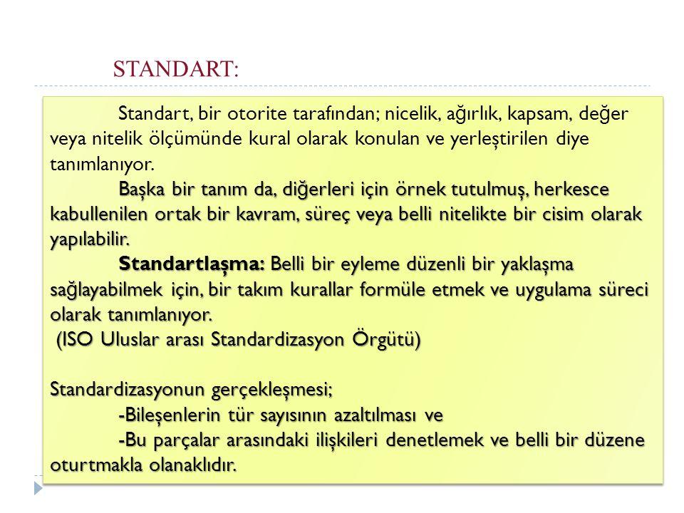 STANDART: Standart, bir otorite tarafından; nicelik, a ğ ırlık, kapsam, de ğ er veya nitelik ölçümünde kural olarak konulan ve yerleştirilen diye tanı
