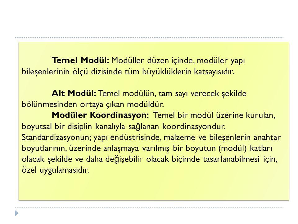 Temel Modül: Modüller düzen içinde, modüler yapı bileşenlerinin ölçü dizisinde tüm büyüklüklerin katsayısıdır. Alt Modül: Temel modülün, tam sayı vere