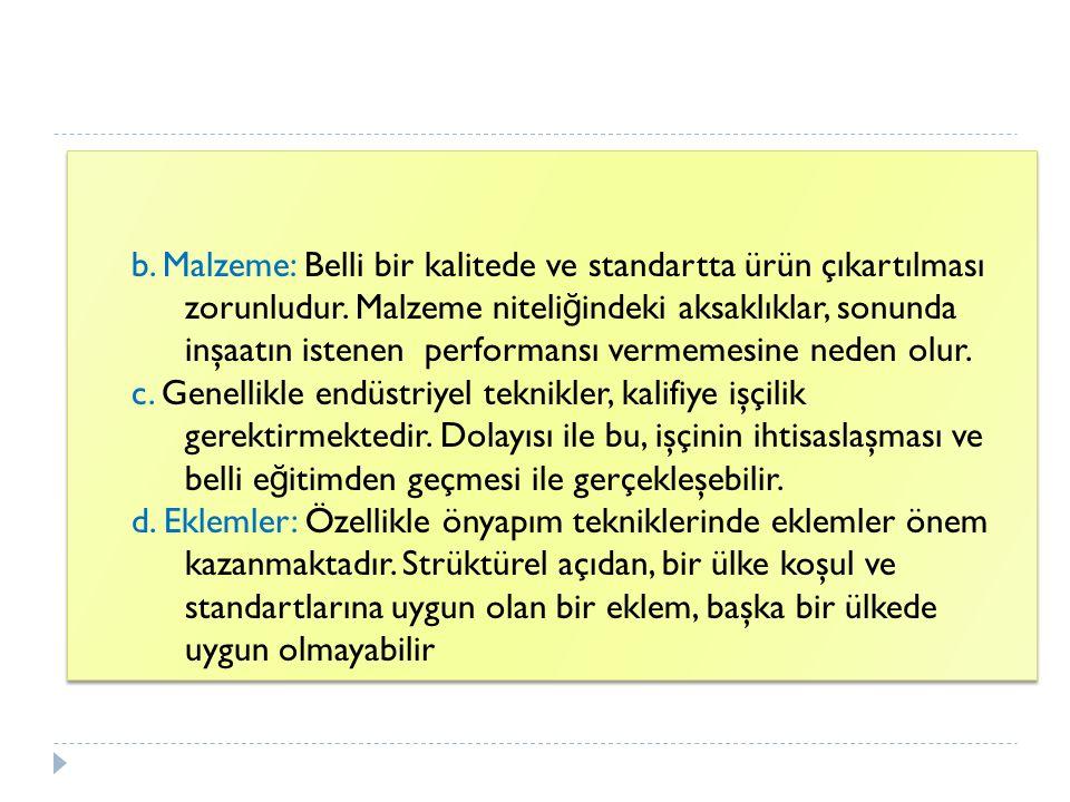 b. Malzeme: Belli bir kalitede ve standartta ürün çıkartılması zorunludur. Malzeme niteli ğ indeki aksaklıklar, sonunda inşaatın istenen performansı v