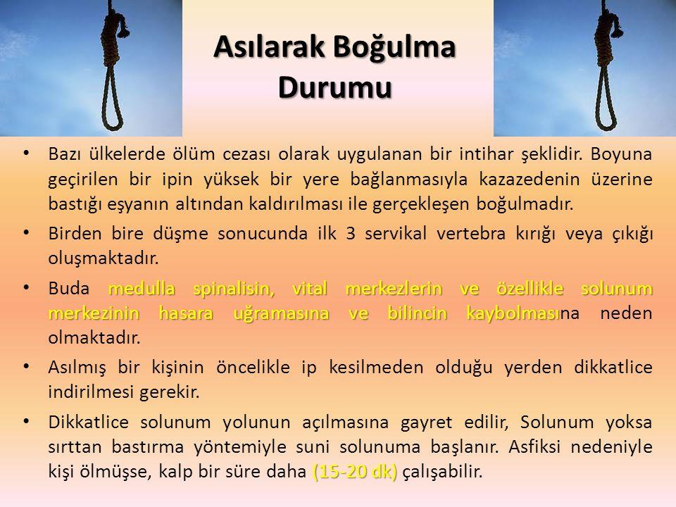 Asılarak Boğulma Durumu Bazı ülkelerde ölüm cezası olarak uygulanan bir intihar şeklidir.