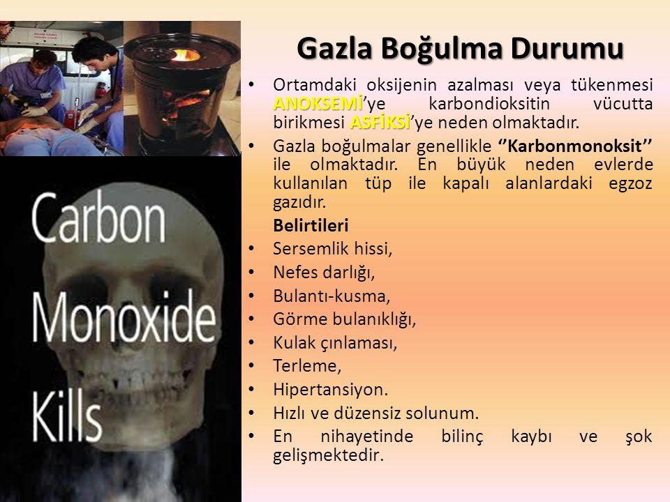 Gazla Boğulma Durumu ANOKSEMİ ASFİKSİ Ortamdaki oksijenin azalması veya tükenmesi ANOKSEMİ'ye karbondioksitin vücutta birikmesi ASFİKSİ'ye neden olmaktadır.