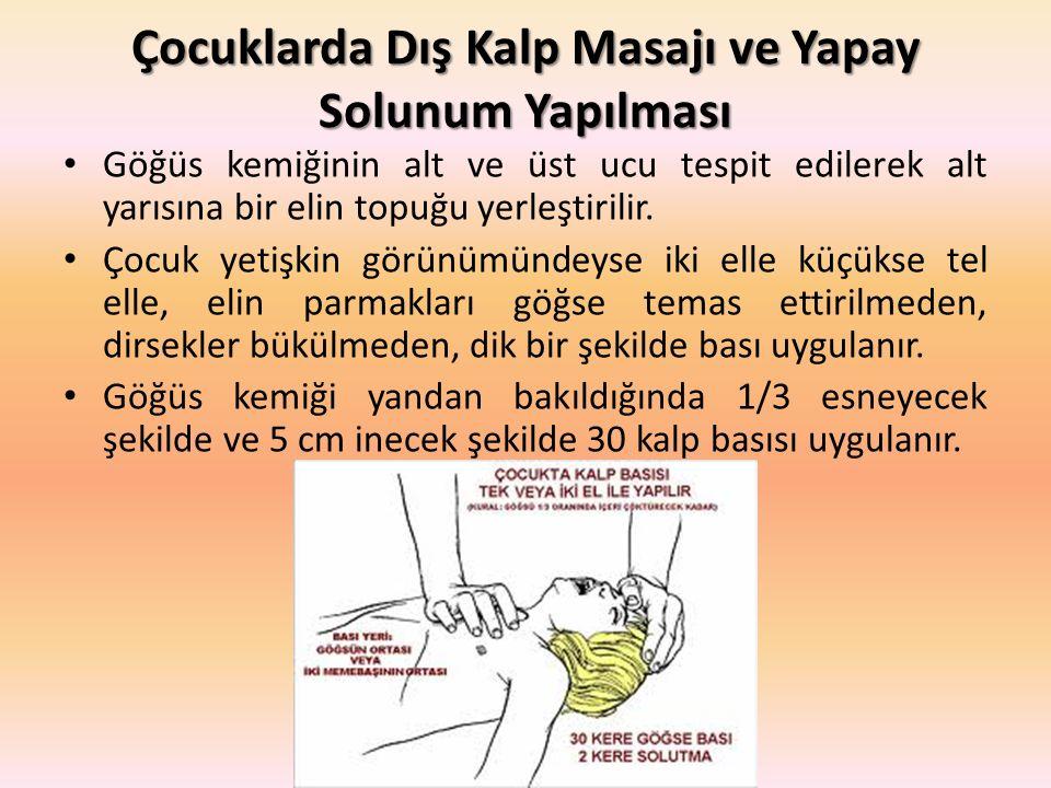 Çocuklarda Dış Kalp Masajı ve Yapay Solunum Yapılması Göğüs kemiğinin alt ve üst ucu tespit edilerek alt yarısına bir elin topuğu yerleştirilir.