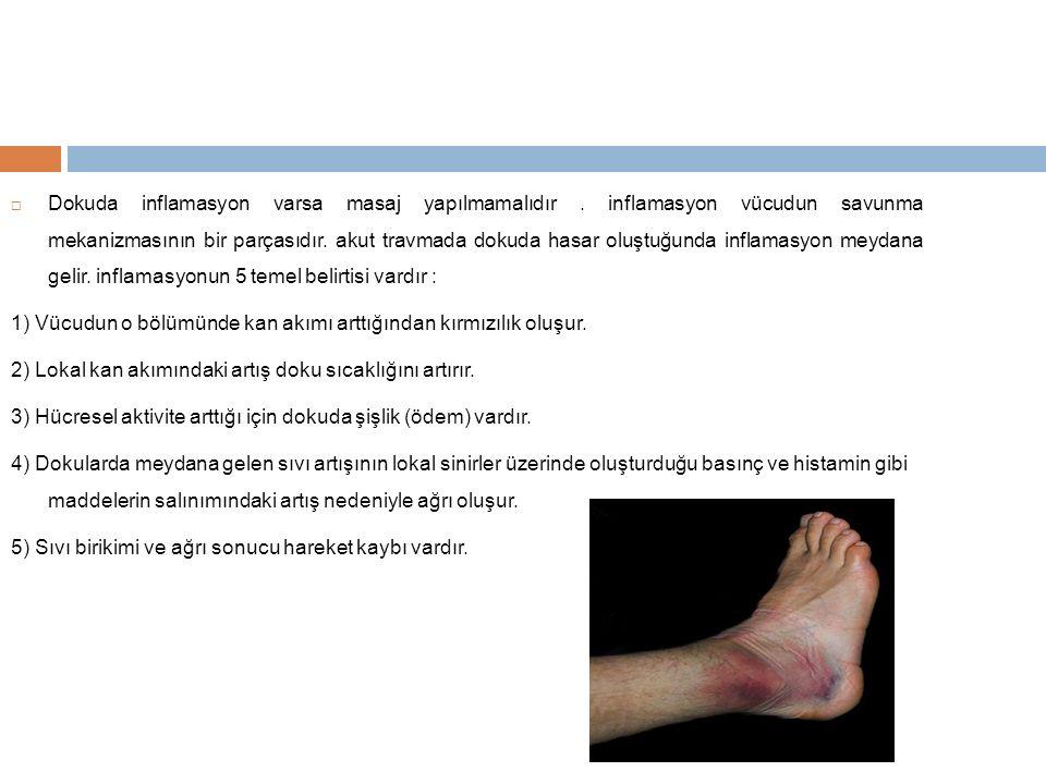  Dokuda inflamasyon varsa masaj yapılmamalıdır. inflamasyon vücudun savunma mekanizmasının bir parçasıdır. akut travmada dokuda hasar oluştuğunda in