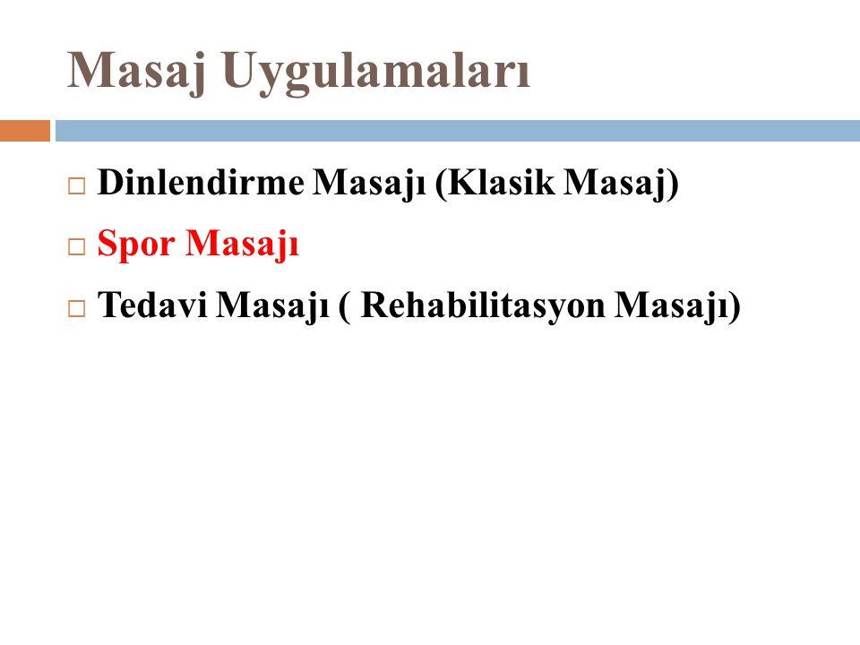 Masaj Uygulamaları  Dinlendirme Masajı (Klasik Masaj)  Spor Masajı  Tedavi Masajı ( Rehabilitasyon Masajı)