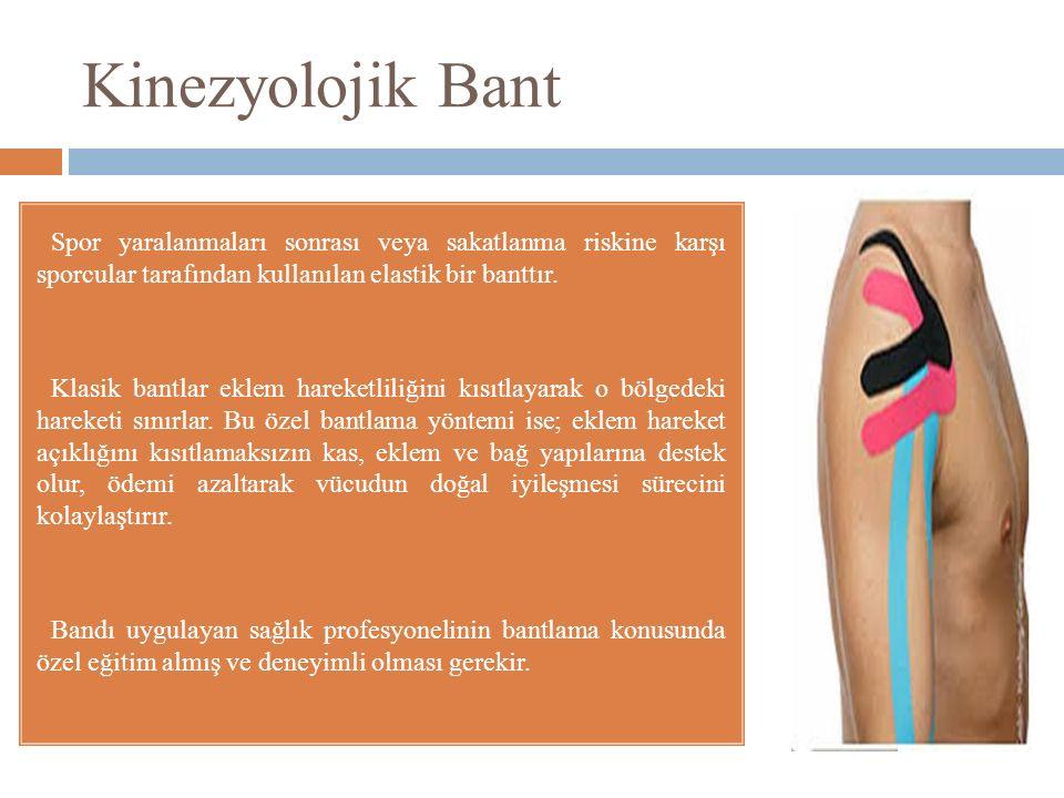 Kinezyolojik Bant  Spor yaralanmaları sonrası veya sakatlanma riskine karşı sporcular tarafından kullanılan elastik bir banttır.  Klasik bantlar ekl