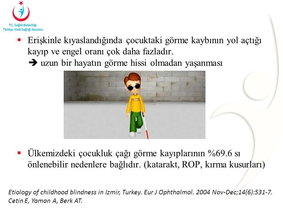  Erişkinle kıyaslandığında çocuktaki görme kaybının yol açtığı kayıp ve engel oranı çok daha fazladır.