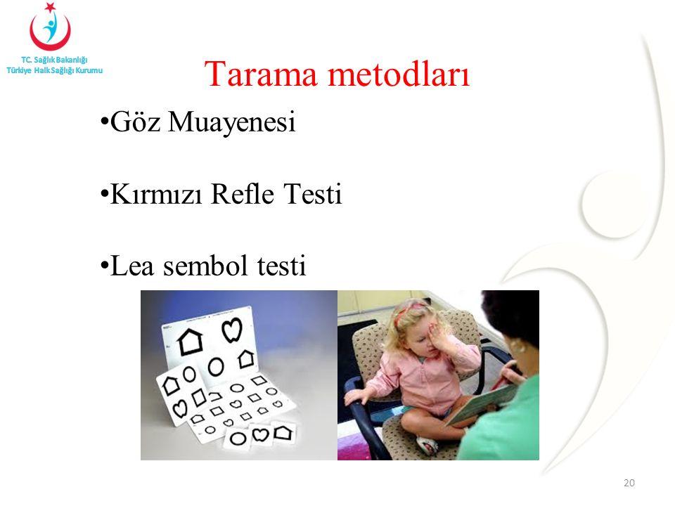 Göz Muayenesi Kırmızı Refle Testi Lea sembol testi 20 Tarama metodları