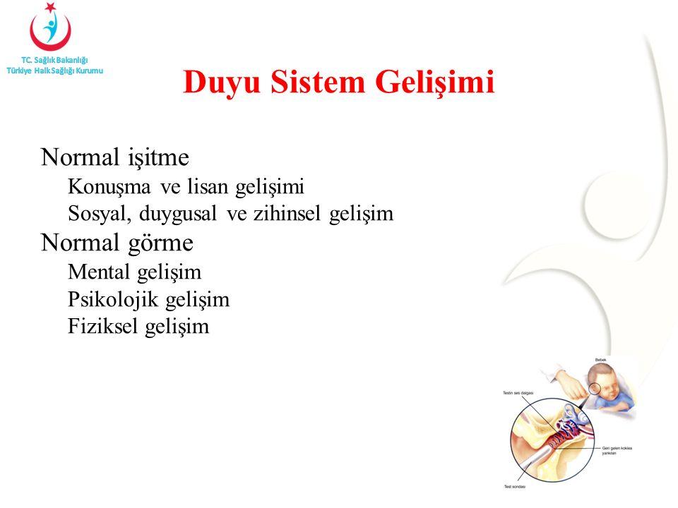 Duyu Sistem Gelişimi Normal işitme Konuşma ve lisan gelişimi Sosyal, duygusal ve zihinsel gelişim Normal görme Mental gelişim Psikolojik gelişim Fizik