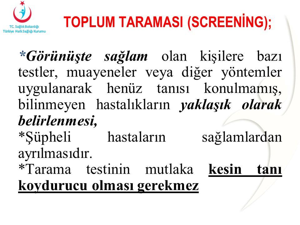 TOPLUM TARAMASI (SCREENİNG); *Görünüşte sağlam olan kişilere bazı testler, muayeneler veya diğer yöntemler uygulanarak henüz tanısı konulmamış, bilinmeyen hastalıkların yaklaşık olarak belirlenmesi, *Şüpheli hastaların sağlamlardan ayrılmasıdır.
