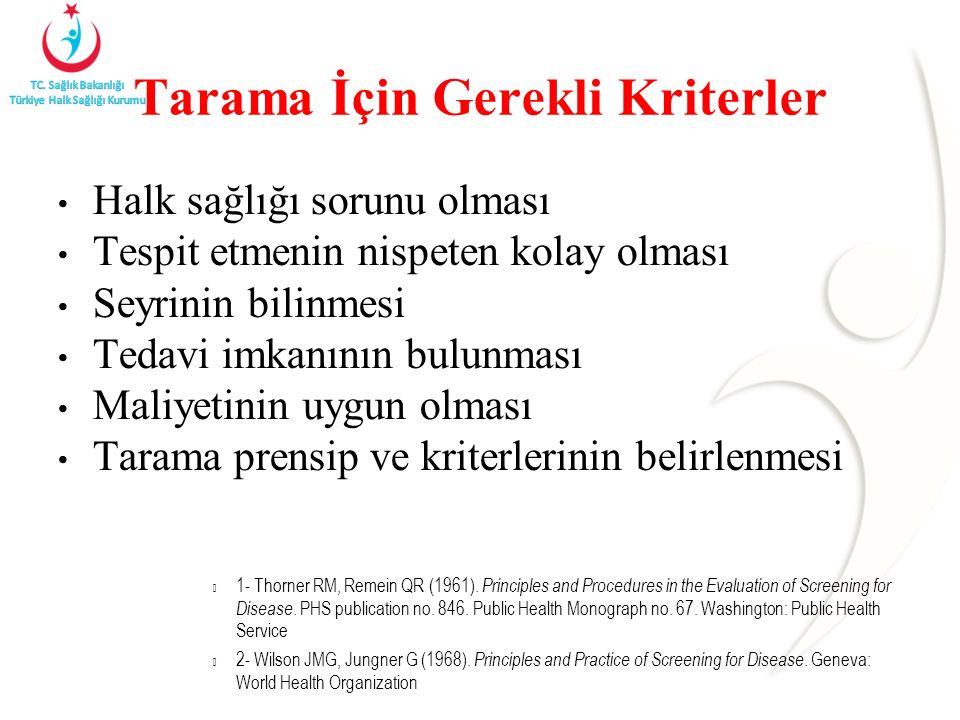 Tarama İçin Gerekli Kriterler Halk sağlığı sorunu olması Tespit etmenin nispeten kolay olması Seyrinin bilinmesi Tedavi imkanının bulunması Maliyetinin uygun olması Tarama prensip ve kriterlerinin belirlenmesi 1- Thorner RM, Remein QR (1961).