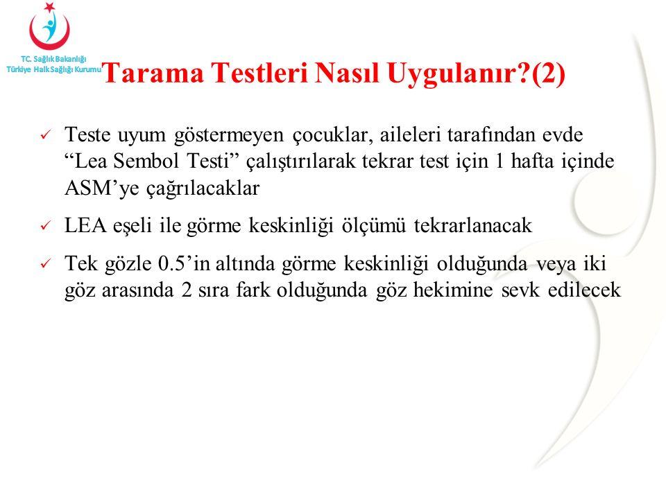 """Tarama Testleri Nasıl Uygulanır?(2) Teste uyum göstermeyen çocuklar, aileleri tarafından evde """"Lea Sembol Testi"""" çalıştırılarak tekrar test için 1 haf"""