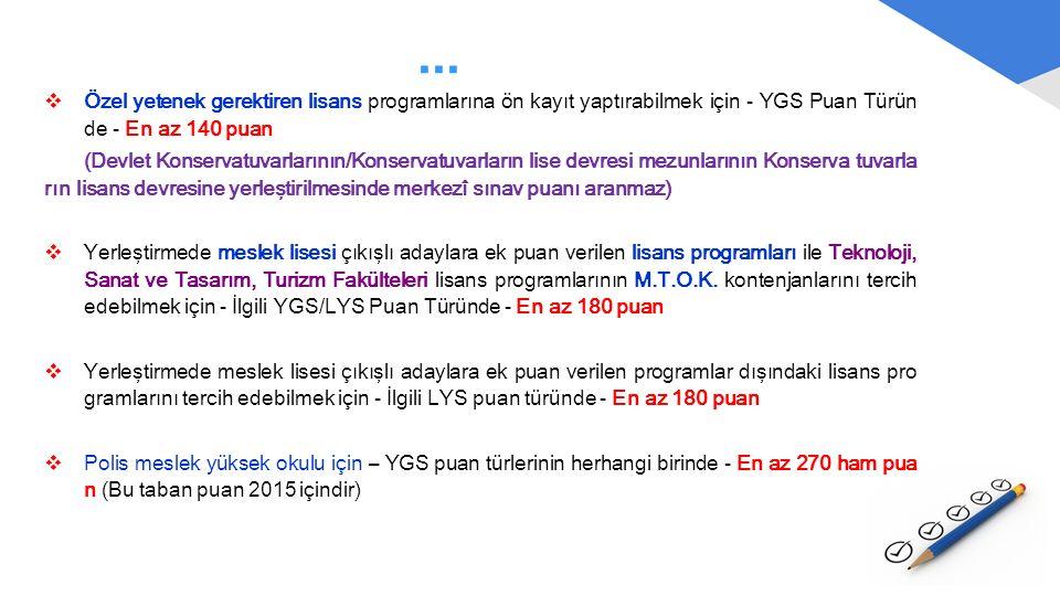 ...  Özel yetenek gerektiren lisans programlarına ön kayıt yaptırabilmek için - YGS Puan Türün de - En az 140 puan (Devlet Konservatuvarlarının/Konse