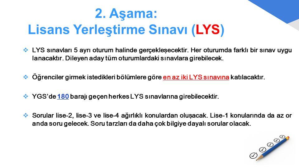 2. Aşama: Lisans Yerleştirme Sınavı (LYS)  LYS sınavları 5 ayrı oturum halinde gerçekleşecektir. Her oturumda farklı bir sınav uygu lanacaktır. Diley
