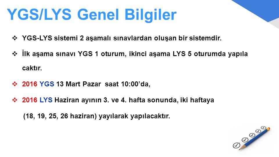 YGS/LYS Genel Bilgiler  YGS-LYS sistemi 2 aşamalı sınavlardan oluşan bir sistemdir.  İlk aşama sınavı YGS 1 oturum, ikinci aşama LYS 5 oturumda yapı