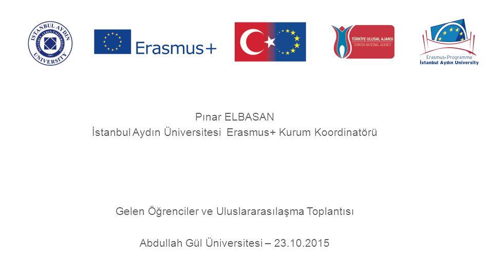 Pınar ELBASAN İstanbul Aydın Üniversitesi Erasmus+ Kurum Koordinatörü Gelen Öğrenciler ve Uluslararasılaşma Toplantısı Abdullah Gül Üniversitesi – 23.