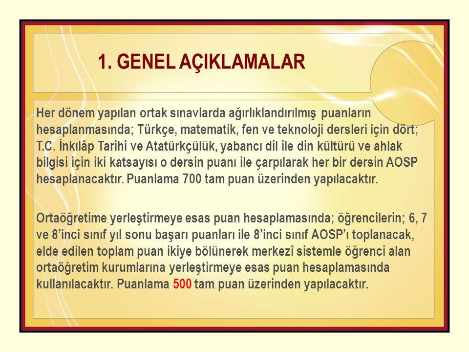 Her dönem yapılan ortak sınavlarda ağırlıklandırılmış puanların hesaplanmasında; Türkçe, matematik, fen ve teknoloji dersleri için dört; T.C. İnkılâp