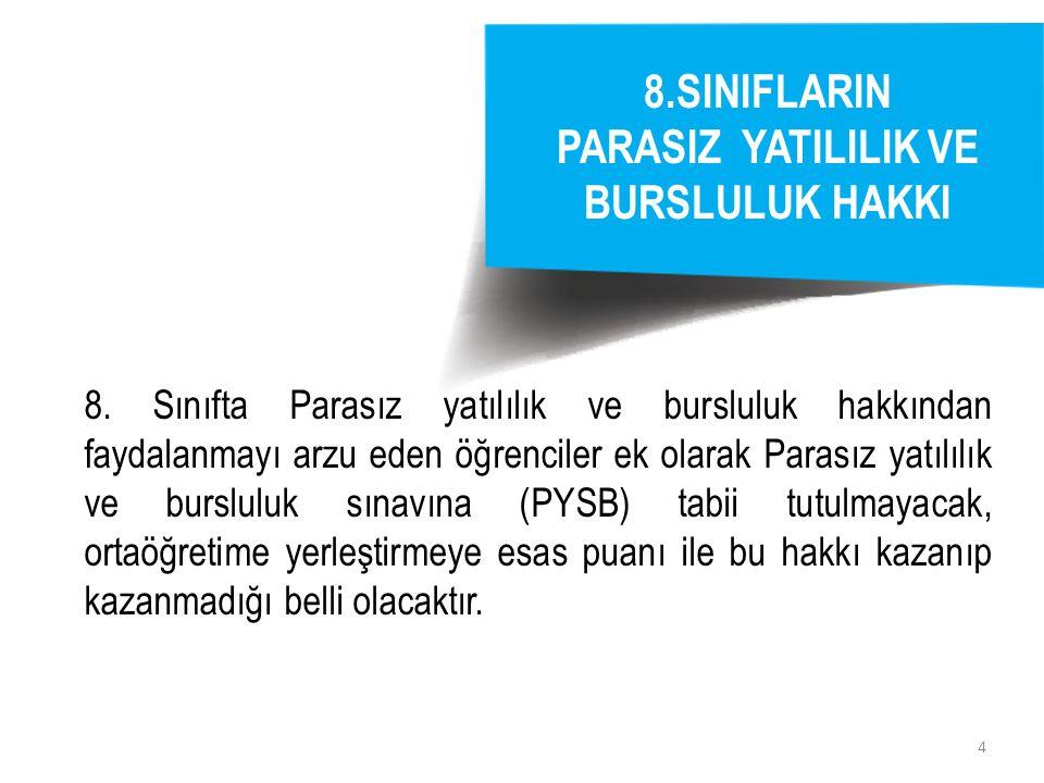 4 8.SINIFLARIN PARASIZ YATILILIK VE BURSLULUK HAKKI 8.