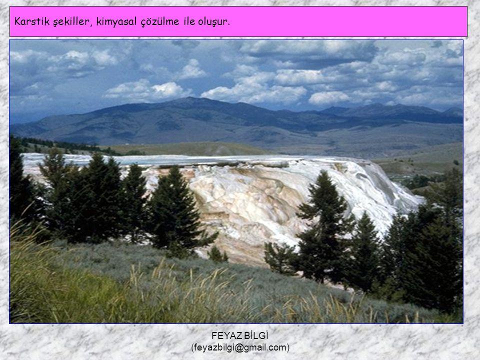 FEYAZ BİLGİ (feyazbilgi@gmail.com) Karstik Şekiller Kalker, kaya tuzu ve jips gibi kolay eriyebilen kayaların bulunduğu sahalara karstik arazi denir.