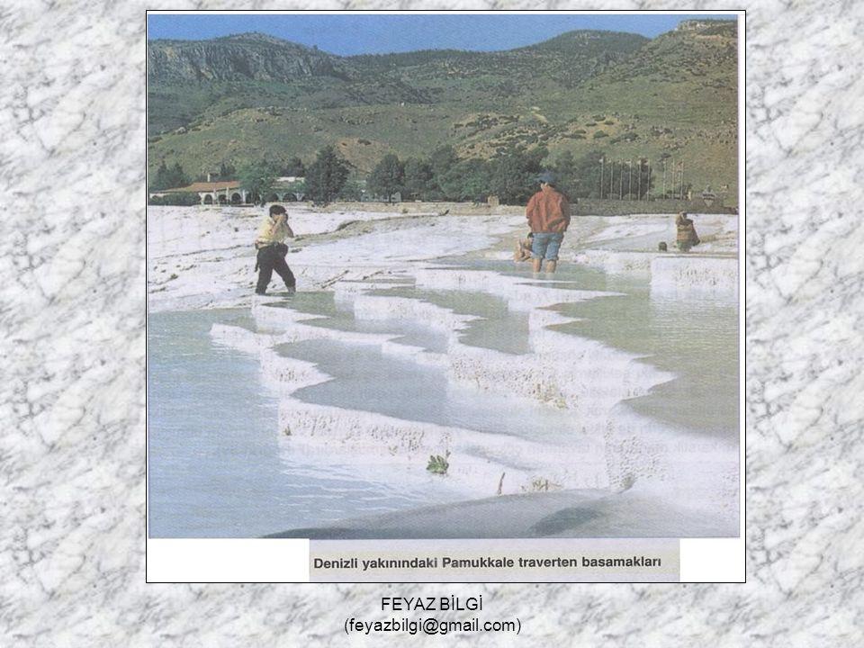 FEYAZ BİLGİ (feyazbilgi@gmail.com) Karstik Biriktirme Şekilleri 1- Traverten : Yer altı suyu içerisindeki CO 2.