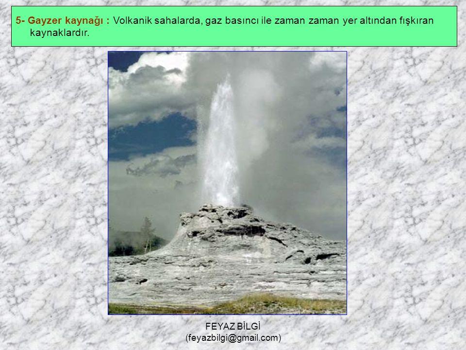 FEYAZ BİLGİ (feyazbilgi@gmail.com) 4- Fay kaynağı : Fay hatlarındaki çatlaklardan yer yüzüne çıkan kaynaklardır. Suları ılık veya sıcak olabilir. Bol