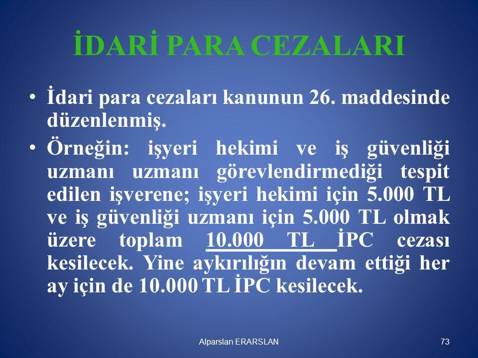 İDARİ PARA CEZALARI İdari para cezaları kanunun 26.