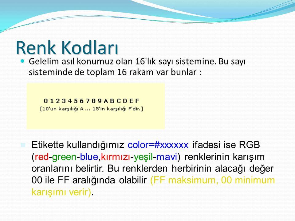 Renk Kodları Gelelim asıl konumuz olan 16'lık sayı sistemine. Bu sayı sisteminde de toplam 16 rakam var bunlar : Etikette kullandığımız color=#xxxxxx