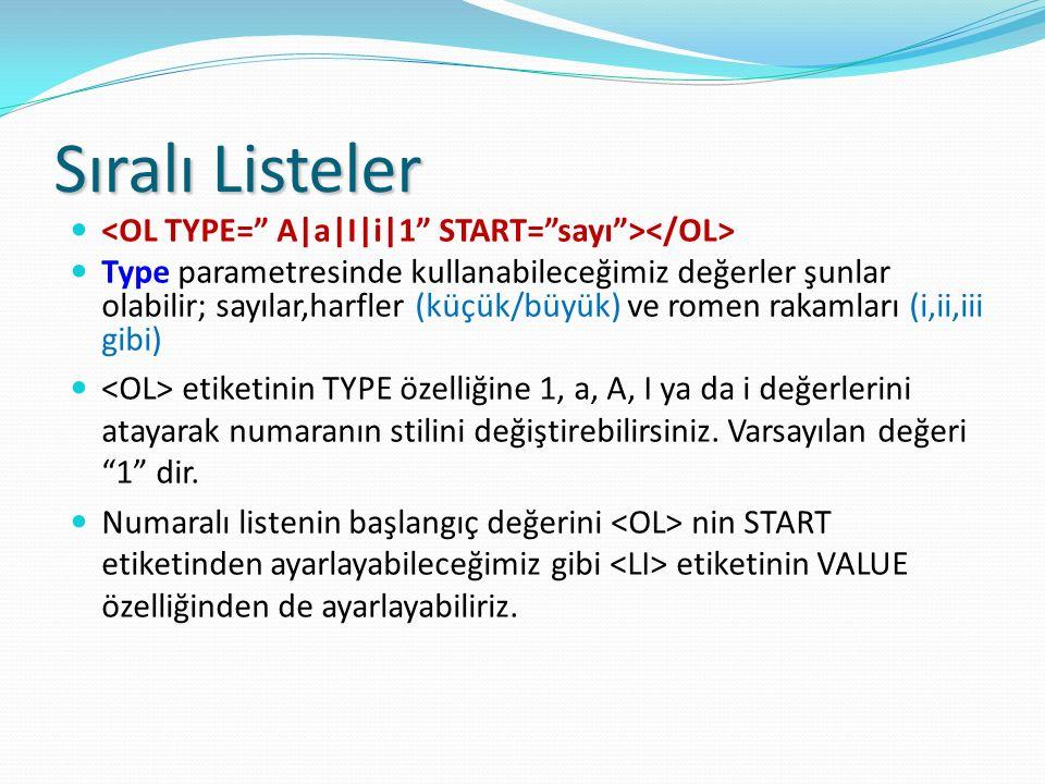 Sıralı Listeler Type parametresinde kullanabileceğimiz değerler şunlar olabilir; sayılar,harfler (küçük/büyük) ve romen rakamları (i,ii,iii gibi) etik