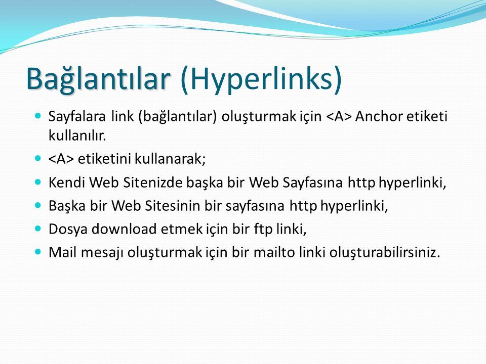 Bağlantılar Bağlantılar (Hyperlinks) Sayfalara link (bağlantılar) oluşturmak için Anchor etiketi kullanılır. etiketini kullanarak; Kendi Web Sitenizde