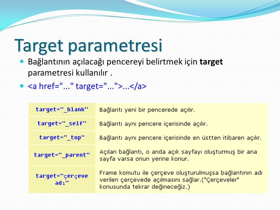 Target parametresi Bağlantının açılacağı pencereyi belirtmek için target parametresi kullanılır....