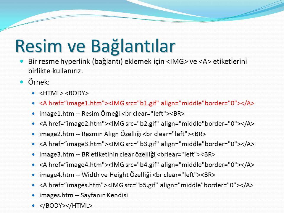 Resim ve Bağlantılar Bir resme hyperlink (bağlantı) eklemek için ve etiketlerini birlikte kullanırız. Örnek: image1.htm -- Resim Örneği image2.htm --