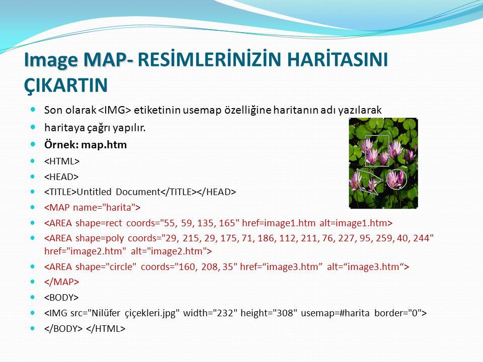 Image MAP- Image MAP- RESİMLERİNİZİN HARİTASINI ÇIKARTIN Son olarak etiketinin usemap özelliğine haritanın adı yazılarak haritaya çağrı yapılır. Örnek