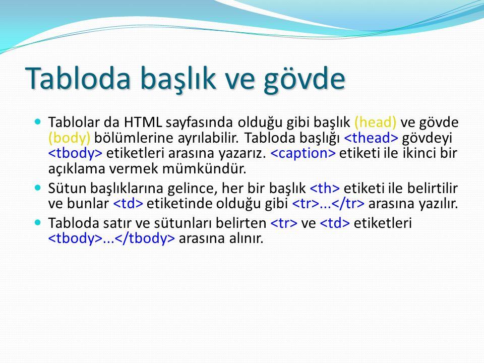 Tabloda başlık ve gövde Tablolar da HTML sayfasında olduğu gibi başlık (head) ve gövde (body) bölümlerine ayrılabilir. Tabloda başlığı gövdeyi etiketl