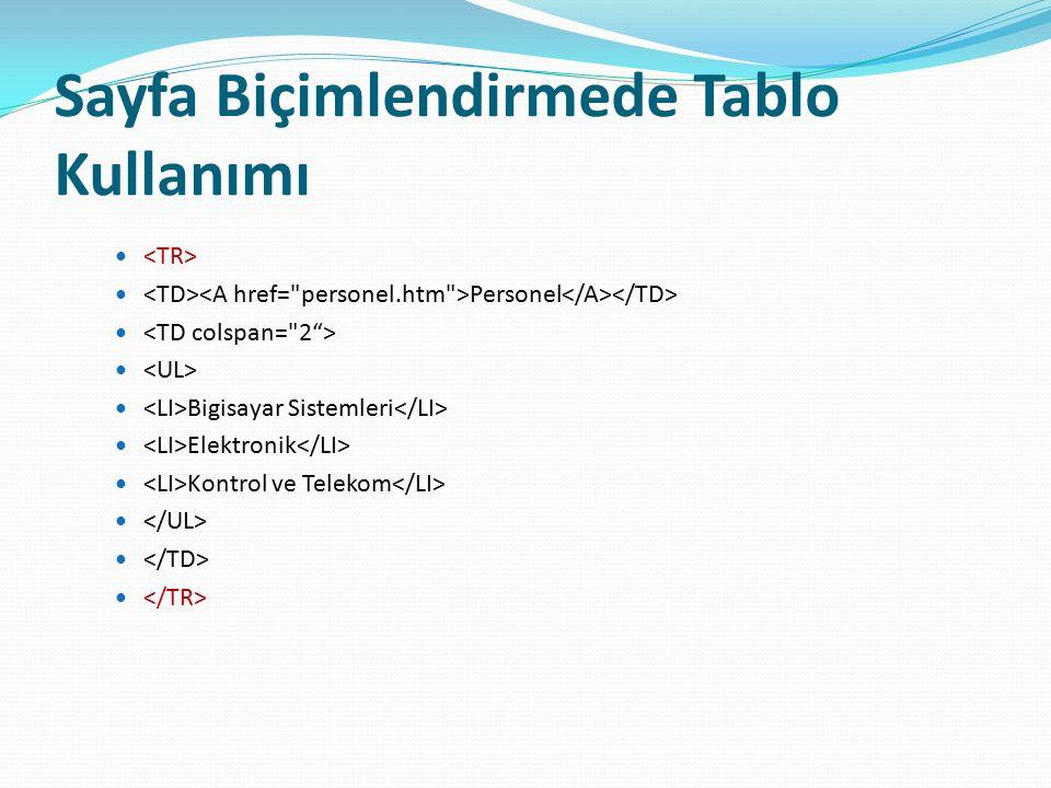 Sayfa Biçimlendirmede Tablo Kullanımı Personel Bigisayar Sistemleri Elektronik Kontrol ve Telekom