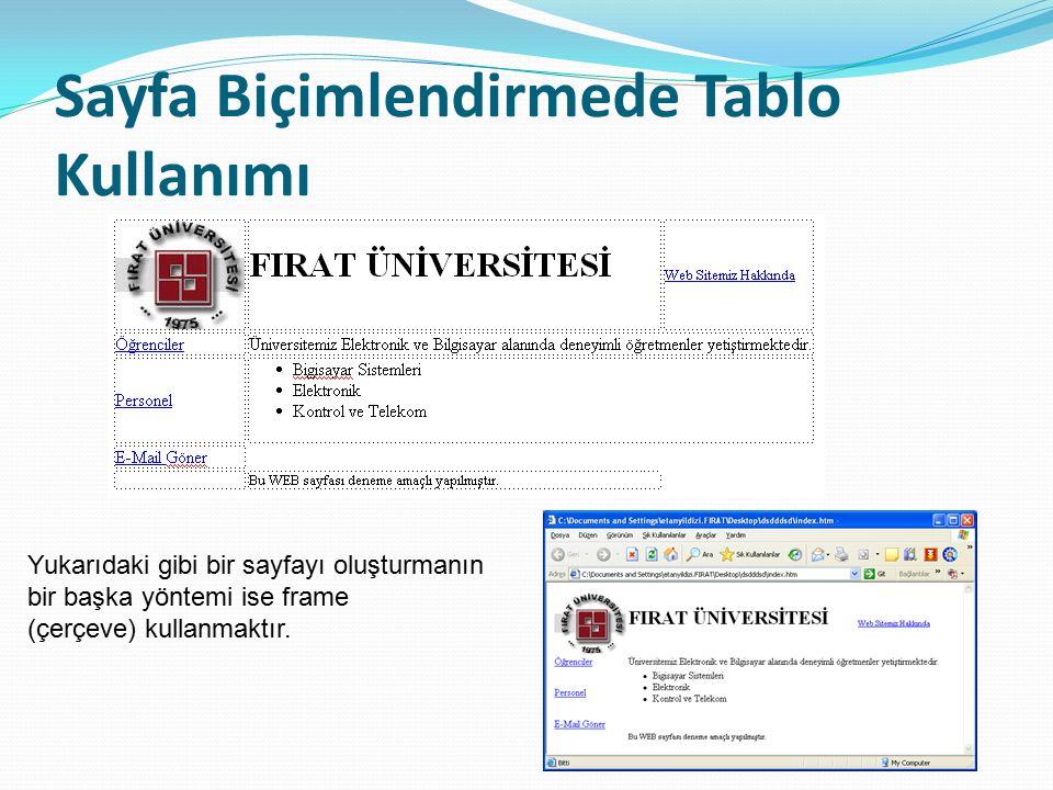 Sayfa Biçimlendirmede Tablo Kullanımı Yukarıdaki gibi bir sayfayı oluşturmanın bir başka yöntemi ise frame (çerçeve) kullanmaktır.