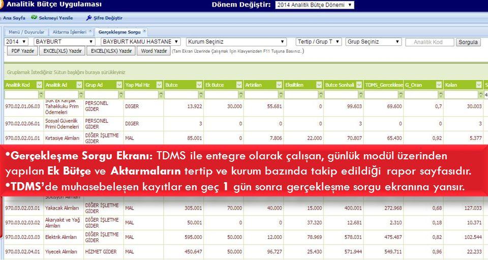 DÖNER SERMAYE BÜTÇE USÜL VE ESASLARI Gerçekleşme Sorgu Ekranı: TDMS ile entegre olarak çalışan, günlük modül üzerinden yapılan Ek Bütçe ve Aktarmaları