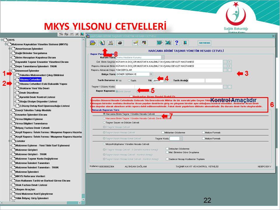 MKYS YILSONU CETVELLERİ 22 1 2 3 4 5 Kontrol Amaçlıdır 6 7 8