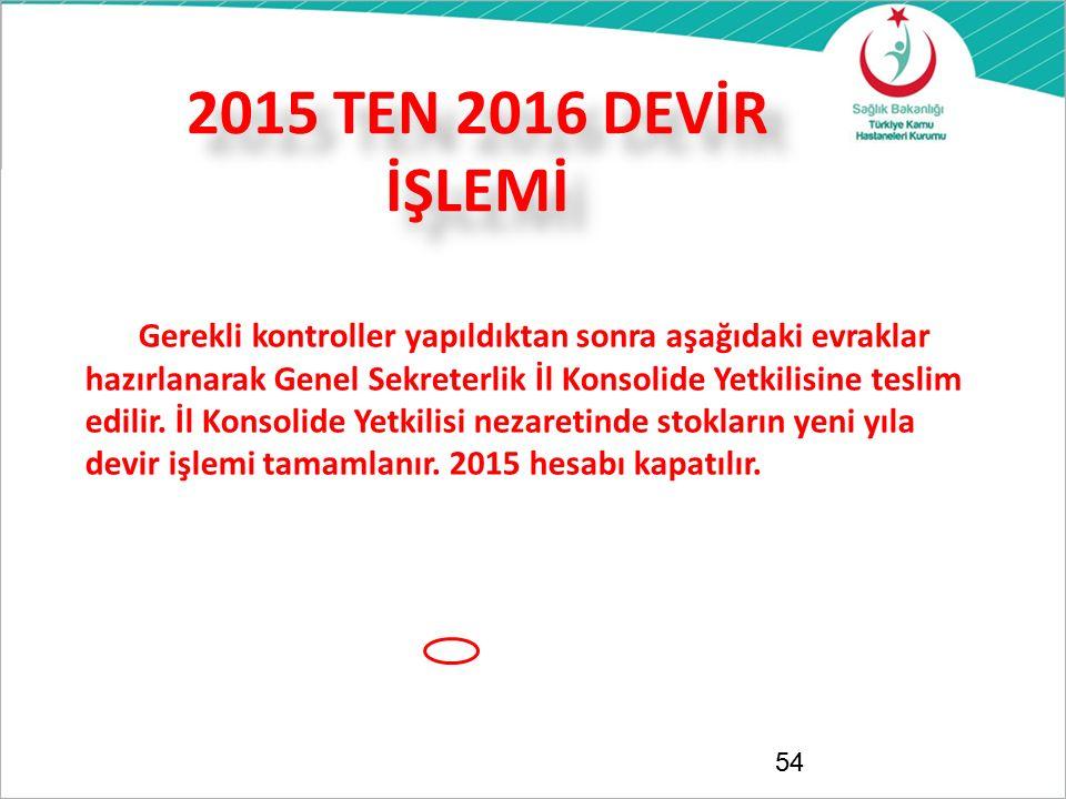 2015 TEN 2016 DEVİR İŞLEMİ 54 Gerekli kontroller yapıldıktan sonra aşağıdaki evraklar hazırlanarak Genel Sekreterlik İl Konsolide Yetkilisine teslim e