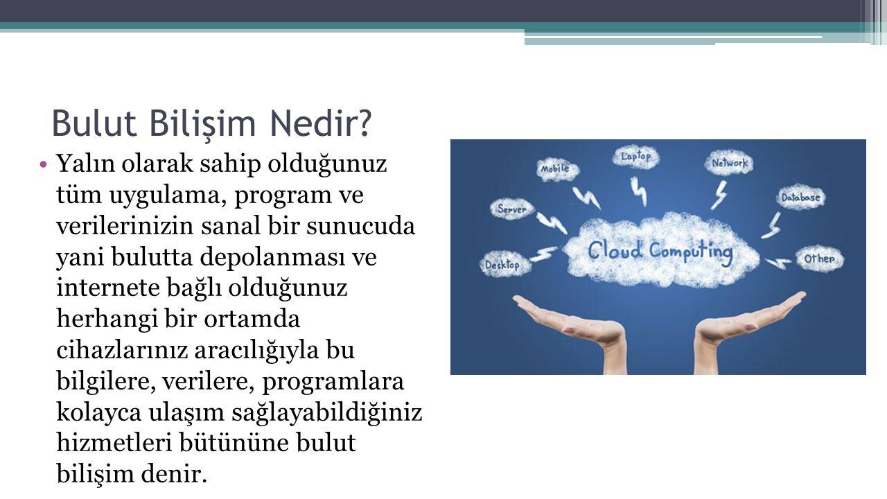 Örnekler Dropbox (http://dropbox.com)http://dropbox.com Google Drive (http://drive.google.com)http://drive.google.com SkyDrive (https://skydrive.live.com)https://skydrive.live.com iCloud (https://cloud.google.com)https://cloud.google.com Yandex.Disk (http://disk.yandex.com)http://disk.yandex.com Turkcell Akıllı Bulut (http://turkcellakillibulut.com)http://turkcellakillibulut.com TTNET Bulut (http://ttnetbulutu.com)http://ttnetbulutu.com Ubuntu One (https://one.ubuntu.com)https://one.ubuntu.com